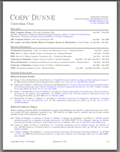 First page of Cody Dunne's CV